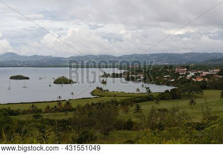 The Landscape View Over The Beautiful Tois Ilets Bay, Its Gorgeous Nature, Hills, Forest, Caribbean