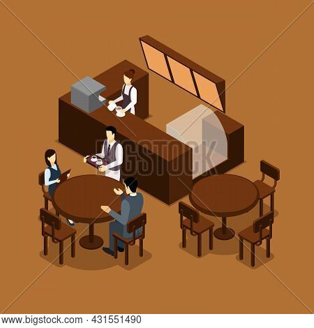 Coffee Shop Cafe Interior Isometric Banner In Brown Tints With Barista And Waiter Serving Visitors A