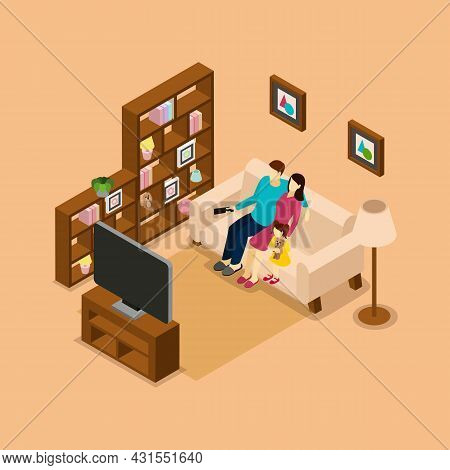 Family Home On The Sofa Watching Tv Isometric Picture Print With Husband Wife And Child Vector Illus