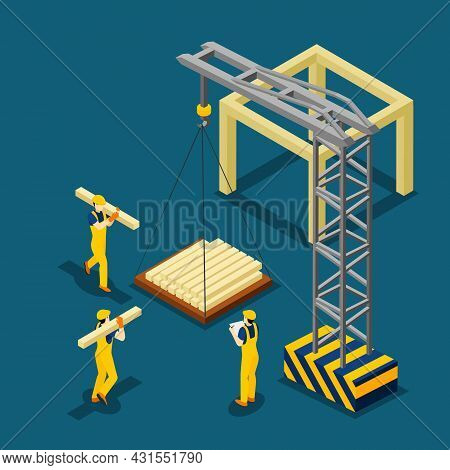 Construction Project Beginning With Wooden Frame Isometric Banner Builders And Crane At Work Abstrac