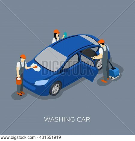 Auto Service Scheduled Car Maintenance Technicians Team Washing Vehicle Isometric Banner Abstract Ve