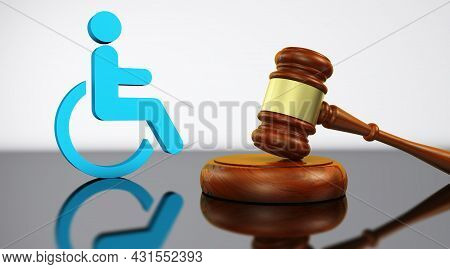 Disability Law, Social Justice Services And Legal Acts For Disabled People Concept With A Judge Gave