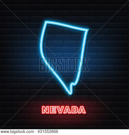 Nevada State Map Outline Neon Icon. Vector Illustration.