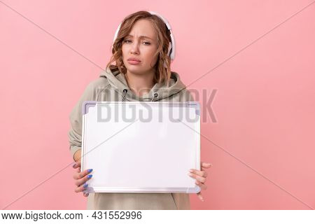Woman Holding Empty Blank Board Over Pink Background Sad Unhappy Caucasian Female 30 Years Old Dress