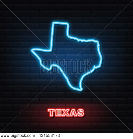 Texas State Map Outline Neon Icon. Vector Illustration.