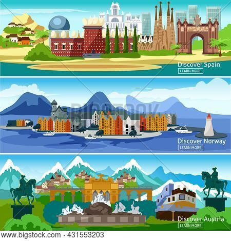 Panoramic Views Horizontal Banners Of The Main Attractions Of European Tourist Cities In Spain Norwa