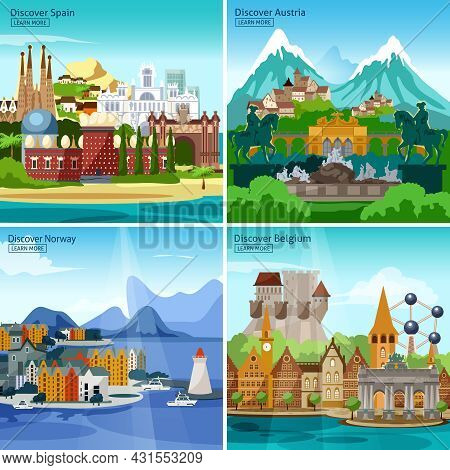 European Touristic Icon Set With Historical Monuments And Sights Of Spain Austria Norway And Belgium
