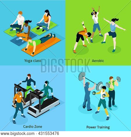 Fitness Aerobic Isometric Icons Set With Description Women On Yoga Class Aerobic Cardio Zone And Man
