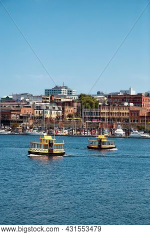 Victoria, Vancouver Island, British Columbia, Canada - August 17, 2021: Water Taxi In Downtown Victo