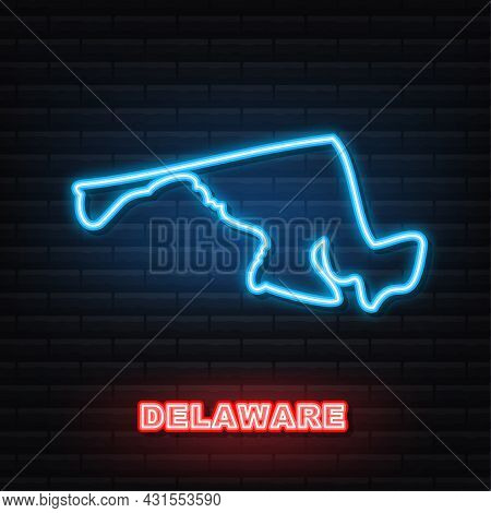 Delaware State Map Outline Neon Icon. Vector Illustration.