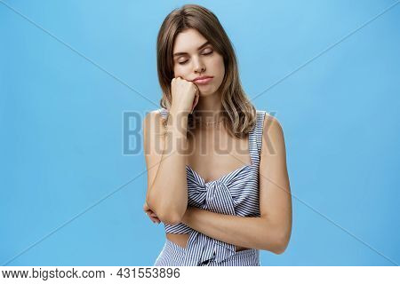 Woman Standing Bored And Sleepy Having Nap While Listening Boring Talk Of Boss Leaning Head On Fist