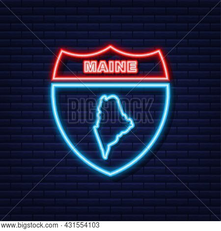 Neon Map Of Maine State United States Of America, Alabama Outline. Blue Glowing Outline. Vector Illu
