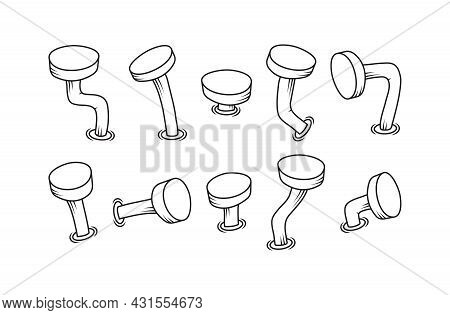 Bent Cartoon Old Vector Line Nails, Metal Rusty Spike, Doodle Steel Crooken Pin. Carpentry Outline S