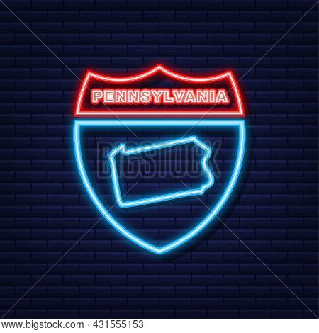 Pennsylvania State Map Outline Neon Icon. Vector Illustration.