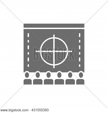 Cinema Screen With Audience, Movie Rental In Cinema, Premiere Grey Icon.