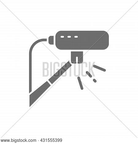 Cinema Microphone, Professional Mic Grey Icon. Isolated On White Background