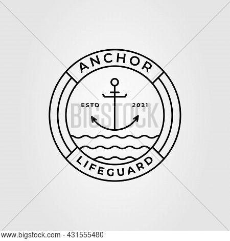 Anchor Line Art And Lifeguard Logo Vector Illustration Design