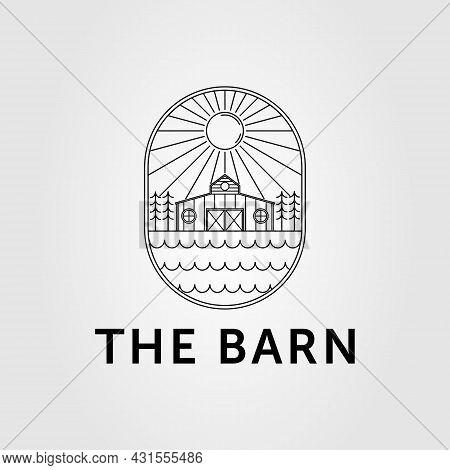 Wooden Barn Or Farmhouse On Lakeside Logo Vector Illustration Design