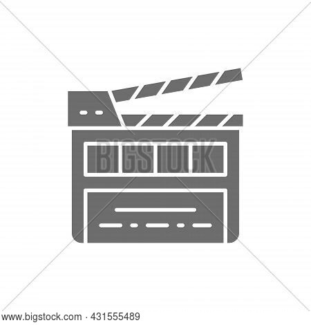 Movie Clapper Board, Clapperboard Grey Icon. Isolated On White Background