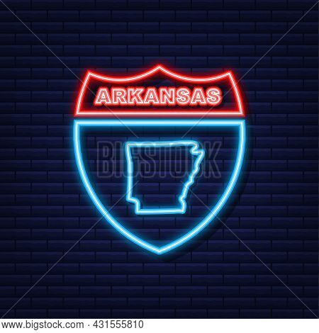 Arkansas State Map Neon Icon. Vector Illustration.