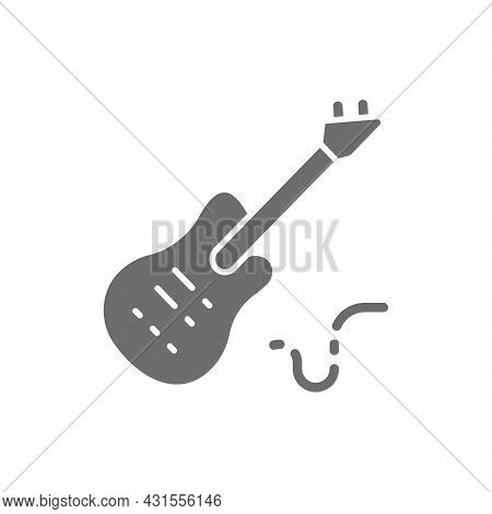 Electronic Bass Guitar, Music Instrument Grey Icon.