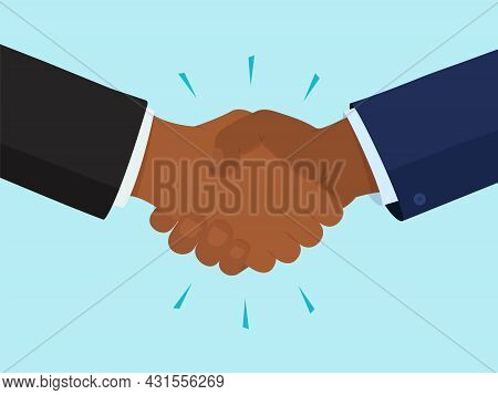 Handshake Vector Icon, Two Black Hands, Friendship And Partnership Concept. Gesture Illustration