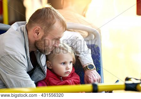 Man Rides With Toddler Girl 3 Years Old In Bus.
