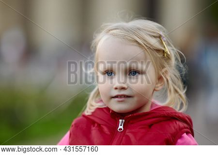 Portrait Of European Female Baby With Blond Hair.