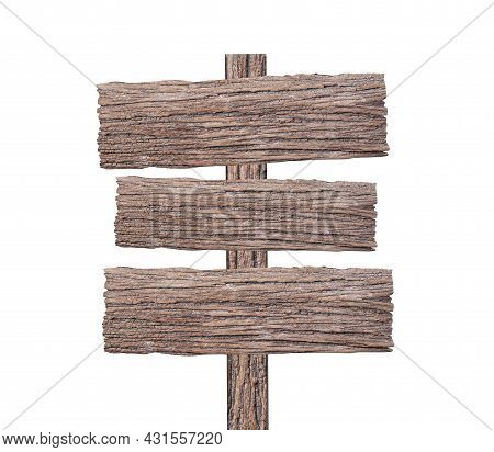 Sign Wood Isolated On White Background For Design In Your Work Concept.