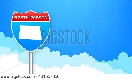 North Dakota Map On Road Sign. Welcome To State Of North Dakota. Vector Illustration.