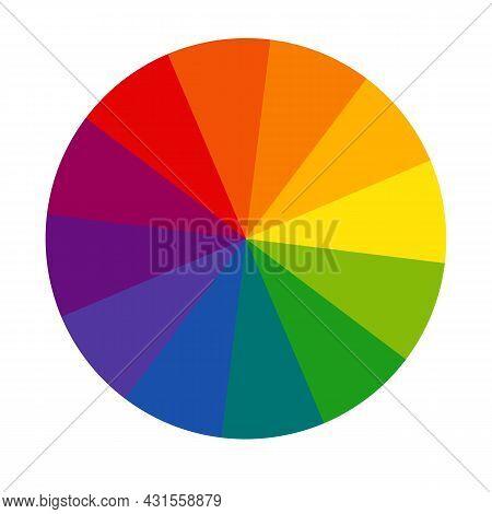 Twelve Part Rgb Color Wheel. Color Wheel Sign. Color Circle With Twelve Colors Symbol. Flat Vector I