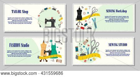 A Set Of Flyers For A Sewing Workshop. Scenes With Tailor Tools - A Mannequin, A Sewing Machine, Thr