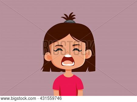 Upset Little Girl Yelling Vector Cartoon Illustration