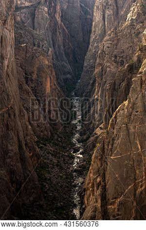 Gunnison River Looks Like A Small Stream From The Canyon Rim In Colorado National Park