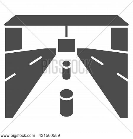 Customs Drive Through, Road, Tollgate Solid Icon, Security Check Concept, Custom Entry Vector Sign O