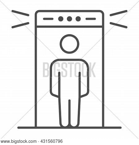 Passenger At Metal Detection Portal Thin Line Icon, Security Check Concept, Metal Detector Vector Si