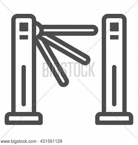 Turnstile Line Icon, Security Check Concept, Tripod Gate Barrier Vector Sign On White Background, Ou