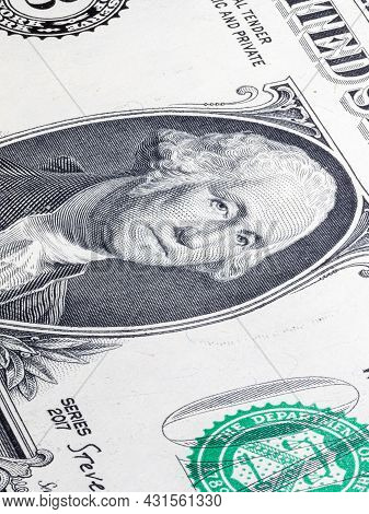 Macro Close Up On The Design Surface Of 1 Dollar Notes. Banknote Of The United States America. Deskt