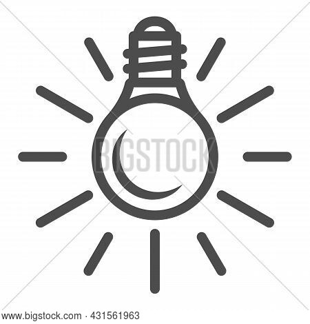 Electric Lamp, Bulb With Sun Beams Line Icon, Electricity Concept, Source Of Light Vector Sign On Wh