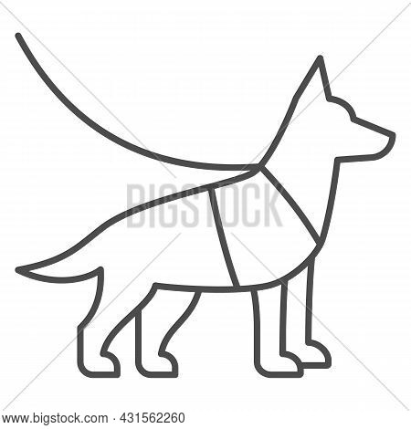 Sniffer Police Dog, Shepherd On Leash Thin Line Icon, Security Check Concept, Service Dog Vector Sig