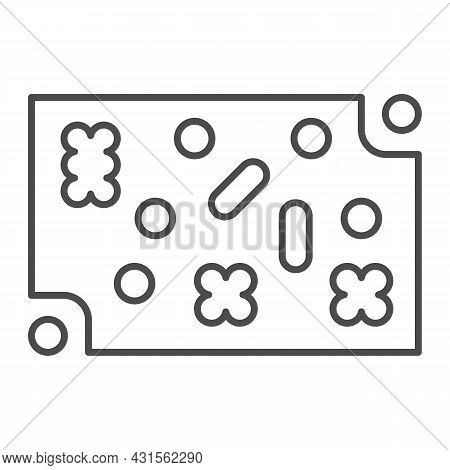 Printed Circuit Board With Fastening Elements Thin Line Icon, Electronics Concept, Pcb Vector Sign O
