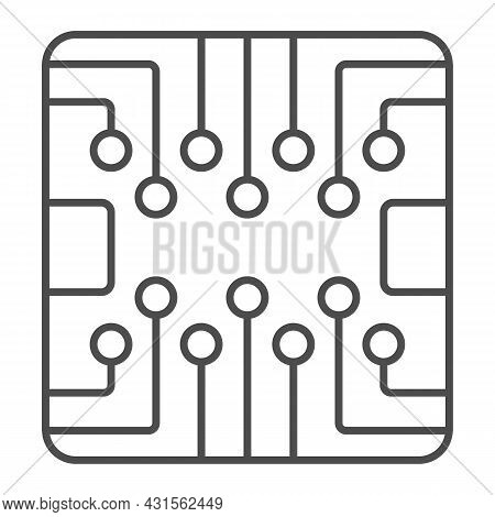 Pcb Layout Square Shape Chip Thin Line Icon, Electronics Concept, Printed Circuit Board Vector Sign