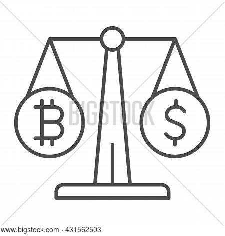 Equivalent Bitcoin And Dollar On Scales Thin Line Icon, Cryptocurrency Concept, Btc Usd Vector Sign