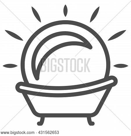 Sun In The Bath Line Icon, Weather And Climate Concept, Sunbathe Vector Sign On White Background, Ou