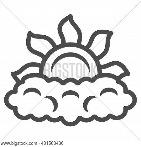 Sun Peeps Out Through Cloud Line Icon, Weather And Climate Concept, Partially Cloudy Vector Sign On
