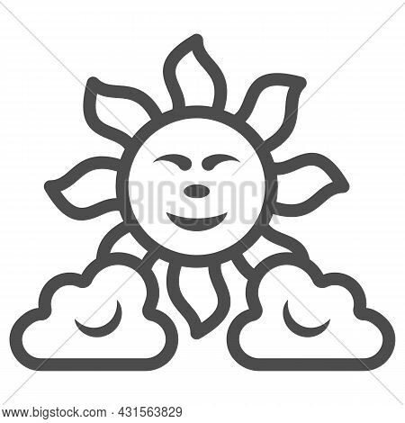 Sun Between The Clouds Line Icon, Weather And Climate Concept, Sunshine In The Sky Vector Sign On Wh