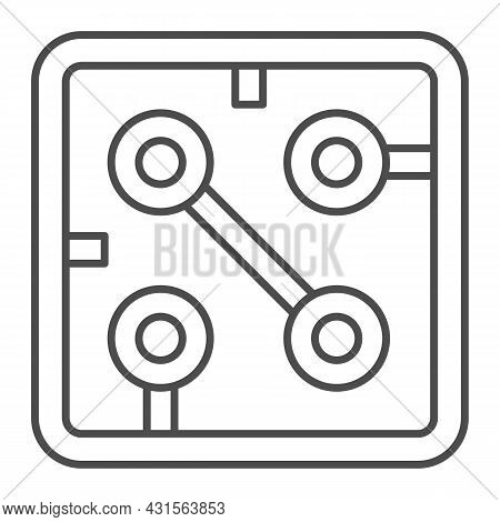 Fragment Of Printed Circuit Board Square Shape Thin Line Icon, Electronics Concept, Pcb Vector Sign