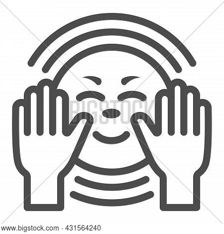 Hands Get Warm From The Sun Line Icon, Weather And Climate Concept, Sunshine And Arms Vector Sign On