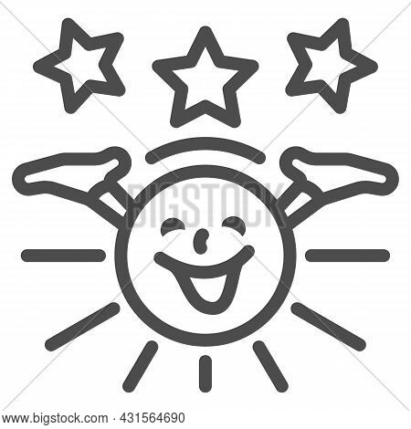 Smiling Sun With Hands And Stars Line Icon, Weather And Climate Concept, Sunshine Vector Sign On Whi