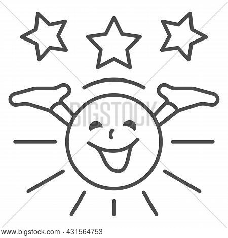 Smiling Sun With Hands And Stars Thin Line Icon, Weather And Climate Concept, Sunshine Vector Sign O